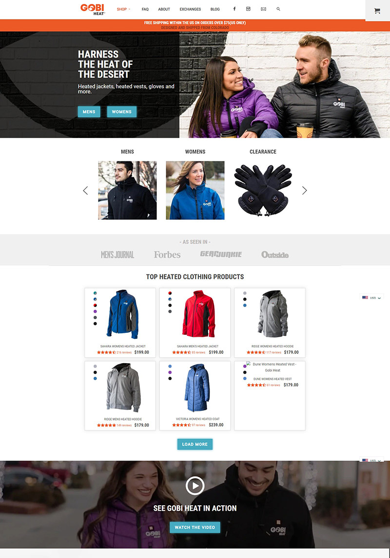 Gobi Heat  美国高科技服饰品牌网站